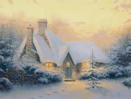thomas kinkade christmas tree cottage