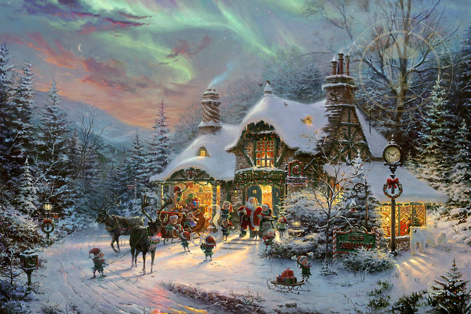 Thomas Kinkade Christmas.Santa S Night Before Christmas By Thomas Kinkade Studios