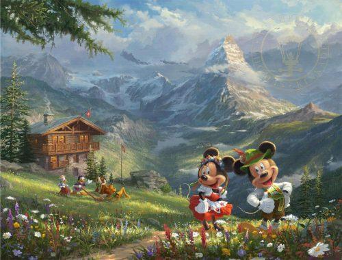 thomas kinkade mickey and minnie in the alps