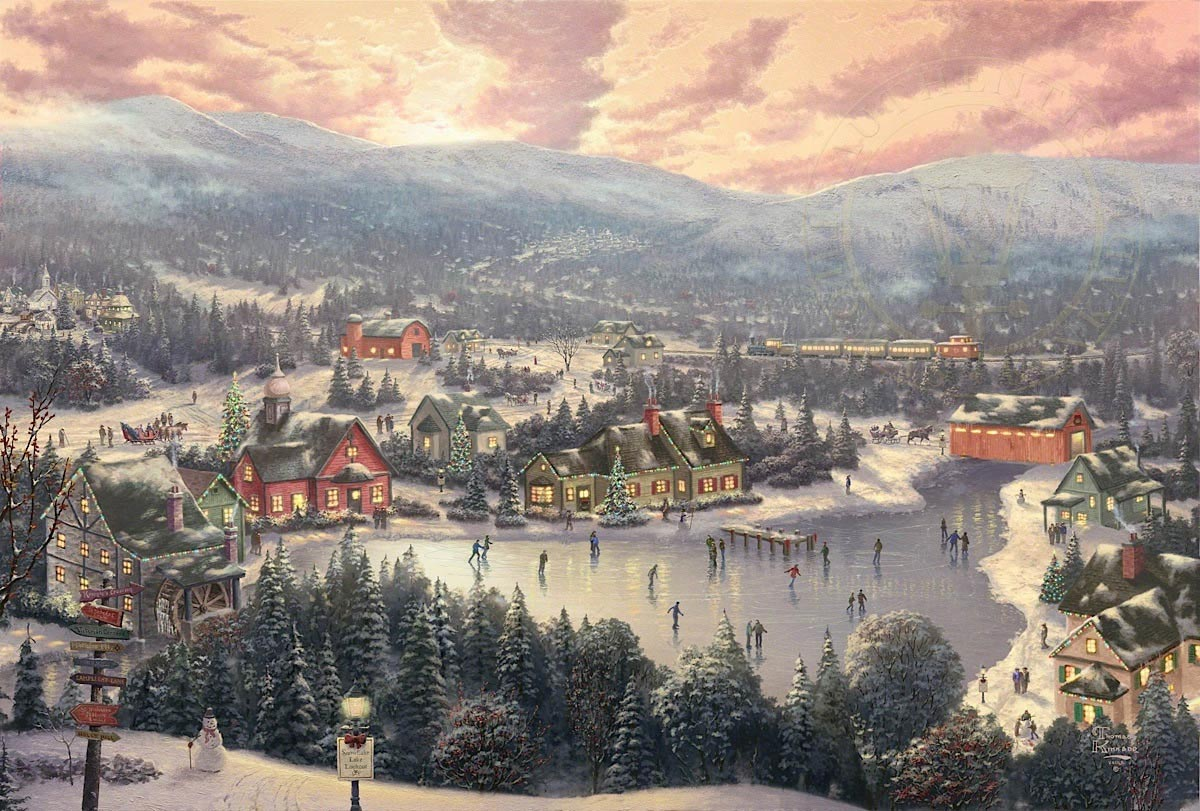 thomas kinkade sunset on snowflake lake