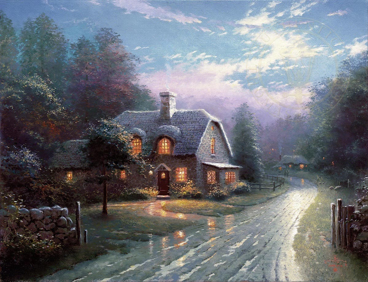 thomas kinkade moonlight lane