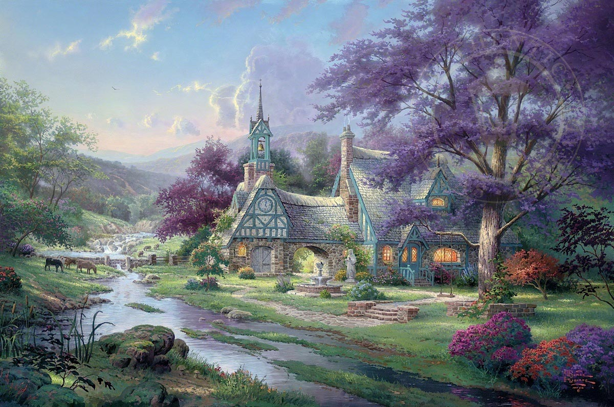 clocktower cottage by thomas kinkade village gallery rh villagegallery com