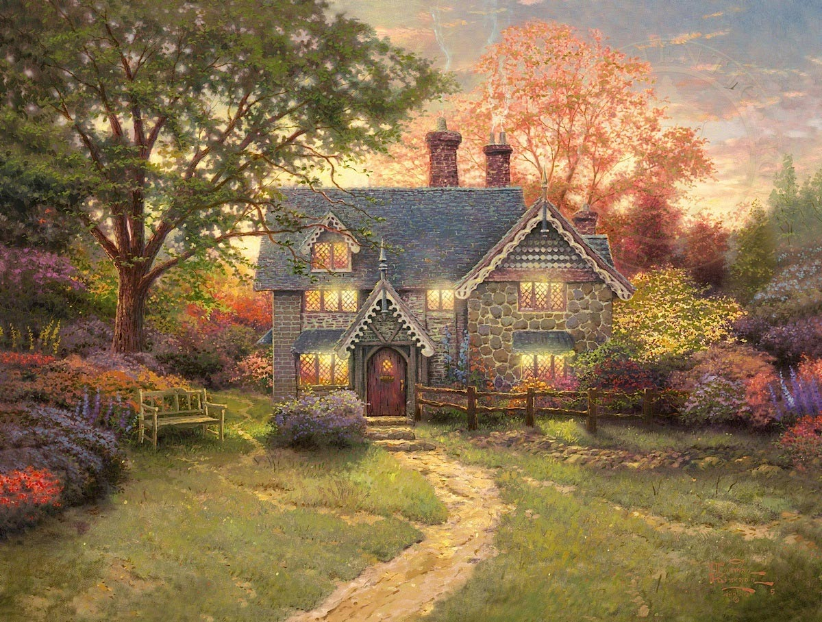Excellent Gingerbread Cottage By Thomas Kinkade Home Interior And Landscaping Ologienasavecom