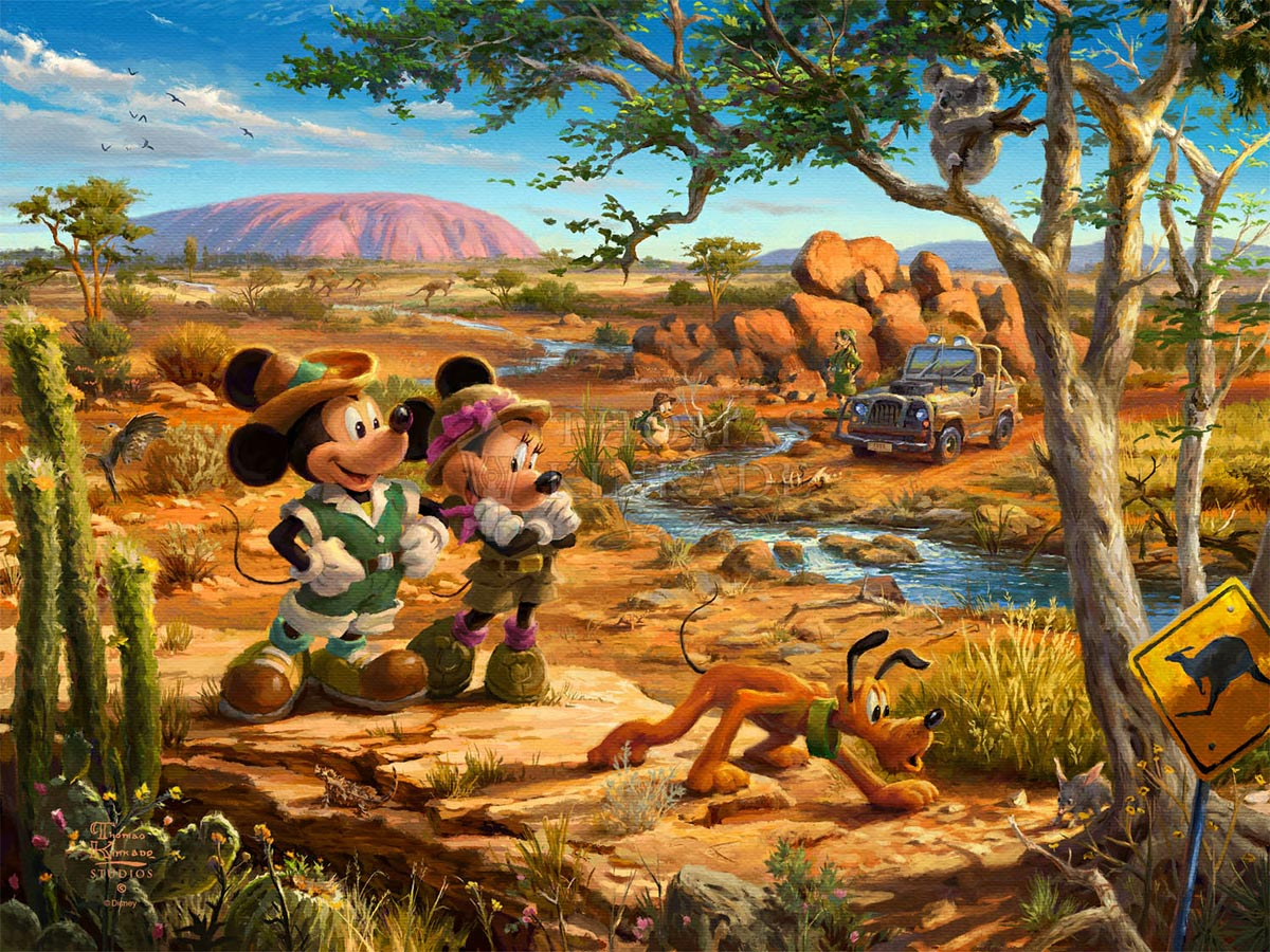 thomas kinkade mickey and minnie in the outback