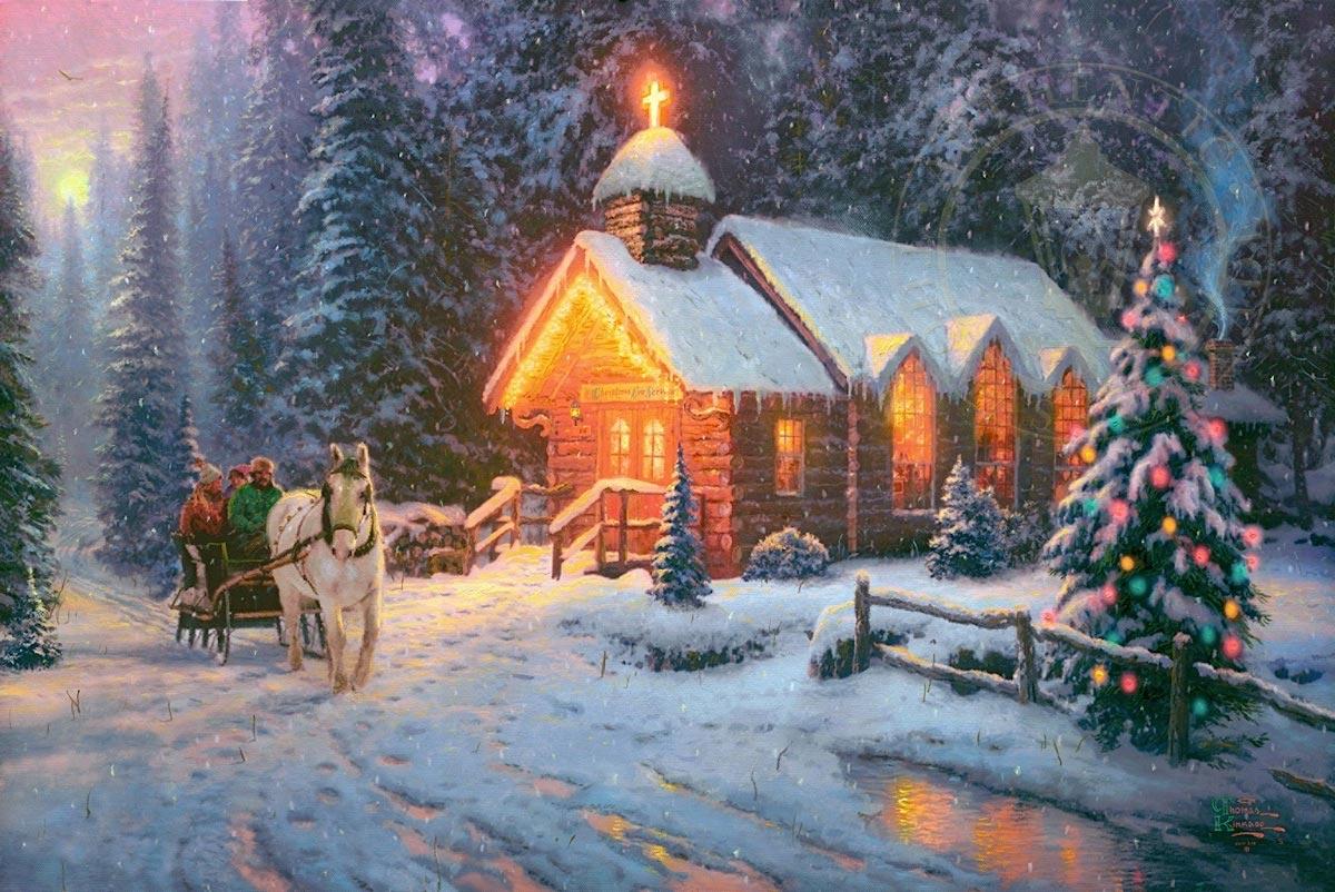 thomas kinkade christmas chapel