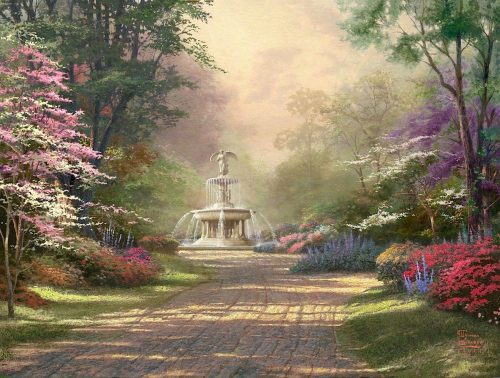 thomas kinkade fountain of blessings