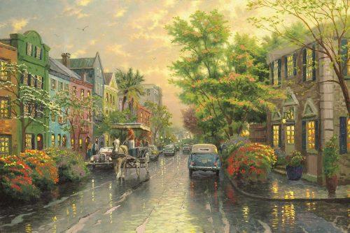 thomas kinkade charleston sunset on rainbow row