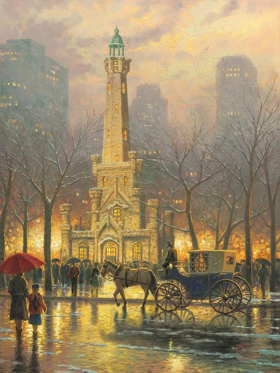 thomas kinkade chicago winter at the water tower