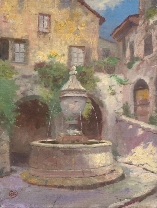 thomas kinkade tuscan village fountain