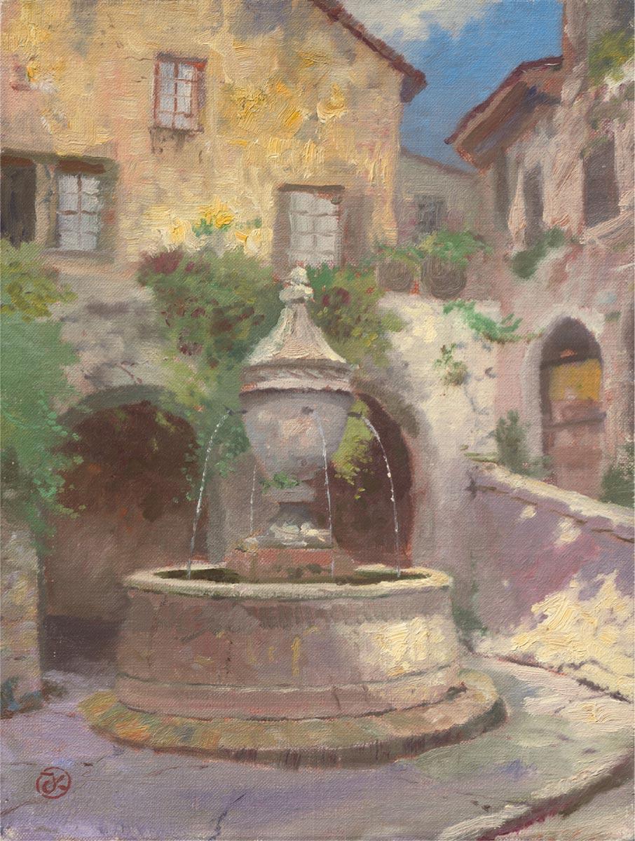 thomas kinkade tuscan village fountain