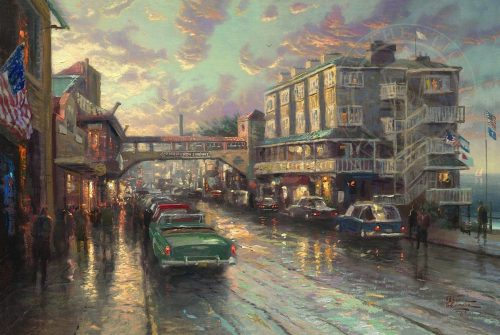 thomas kinkade cannery row sunset