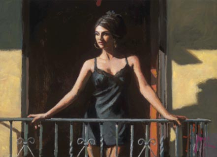 fabian perez saba at the balcony ocre