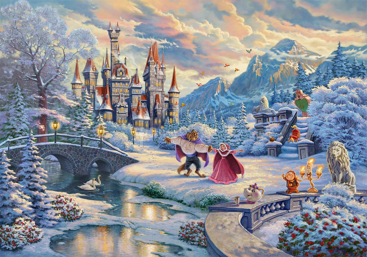 thomas kinkade beauty and the beast's winter enchantment