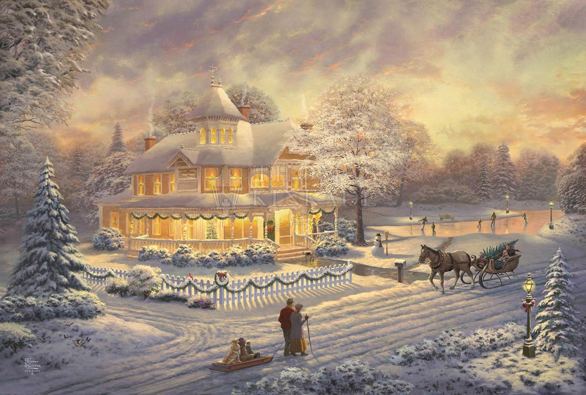 thomas kinkade victorian christmas sunset