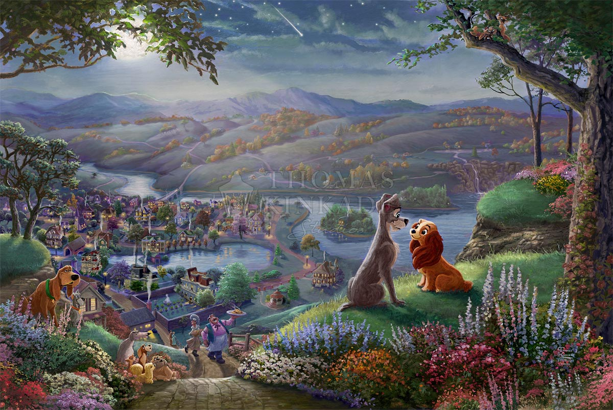 thomas kinkade lady and the tramp falling in love