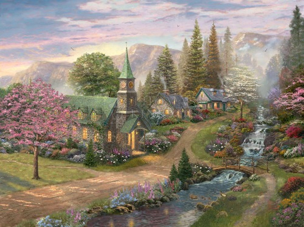 thomas kinkade sunday morning chapel