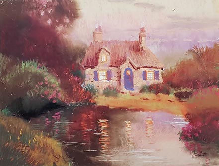 thomas kinkade pastel cottage