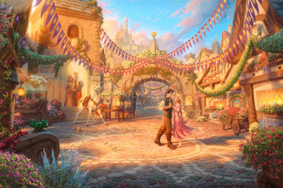 thomas kinkade rapunzel dancing in the sunlit courtyard