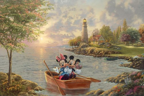 thomas kinkade mickey and minnie lighthouse cove
