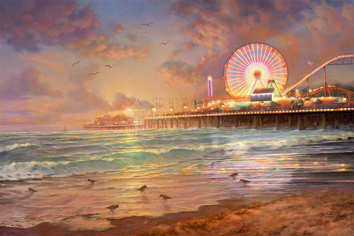 thomas kinkade sunset at santa monica pier