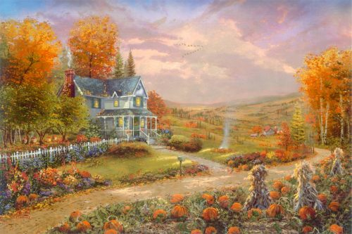 thomas kinkade autumn at apple hill