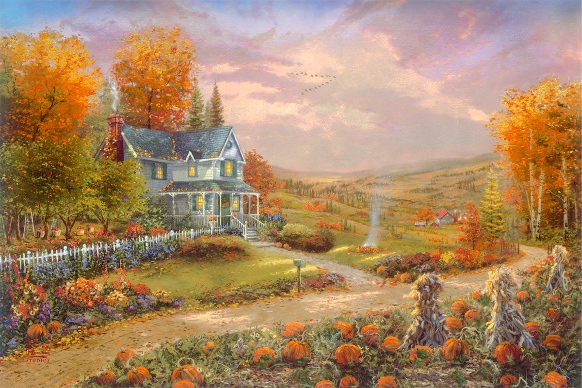 thomas kinkade autumn at apple hill