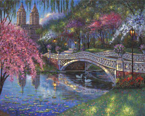 robert finale bow bridge blossoms central park