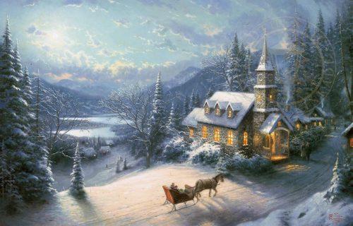thomas kinkade sunday evening sleigh ride