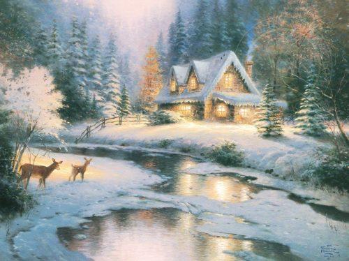 thomas kinkade deer creek cottage
