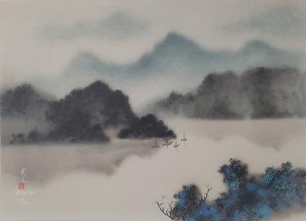 david lee boats in daylight mist